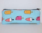 """Padded Pipe Pouch, Ice Cream Pops, Glass Pipes, Pipe Bag, Pipe Case, Pipe Cozy, Vape Pen Bag, Stoner Gift, 420, Zipper Pouch - 7.5"""" LARGE"""