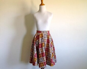 ON SALE Mid Century Circle Skirt - Size Small