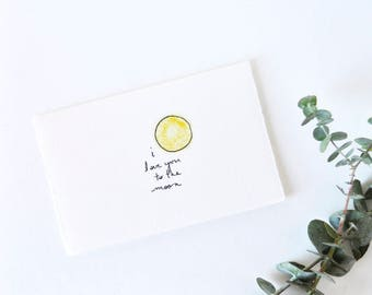 Sweet Love Card - Cute Moon Drawing - I Love You to the Moon