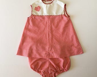 1970's Red Gingham Ric Rac Dress & Bloomers (2t)
