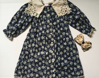 Vintage Blue Rose Print Dress & Hair Bow