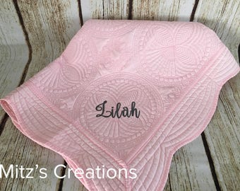 Quilted Blanket for Baby | EMBROIDERED |  Personalized with Name or Monogram