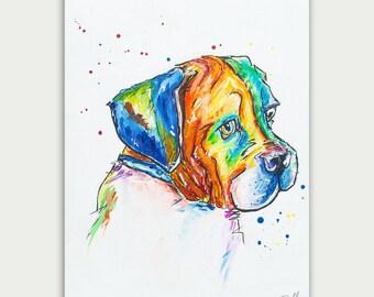 Colorful Pet Art, Custom Dog Paintings, Acrylic On canvas, Wall Decor, Home Decor