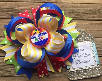 Back to School Hair Bow - Choose your Bottle cap - Kindergarten Hair Bow, Pre-k hair bow, first grade, second grade, third grade hair bow