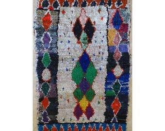 "210X150 cm 6'10"" x 4'11""      L31670  boucherouite , boucharouette,  moroccan rugs , berber rugs, morocco carpets"