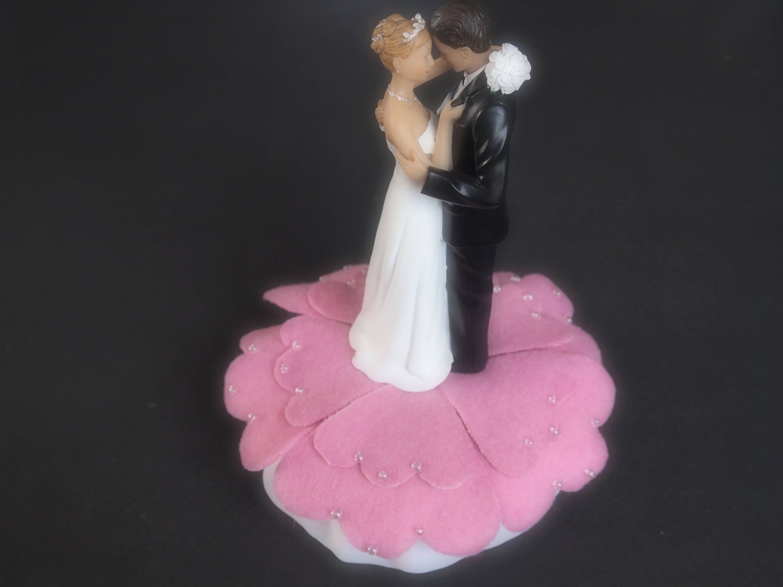Wedding Cake Topper Bride Groom Lighter Medium Pink Choose Hair and ...