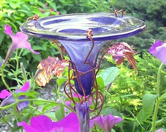 HUMMINGBIRD FEEDER, stained glass, copper, Smoky VIOLET, Iridescent, Gardening, Garden Art, suncatcher
