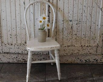 Vintage White Chippy Chair, Child's Wooden Chair, Farmhouse Decor