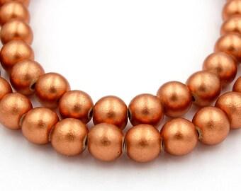 10mm Copper Wood Beads, round wood boho beads -16 inch strand