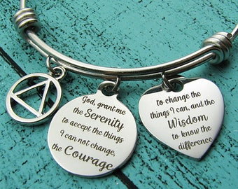 addiction recovery gift, AA sobriety bracelet, serenity prayer jewelry, inspirational gift, for survivor, 12 step sober recovery