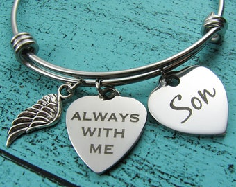 son memorial gift, remembrance loss of son bracelet, sympathy gift son, always with me bracelet, loss of child in loving memory son, jewelry