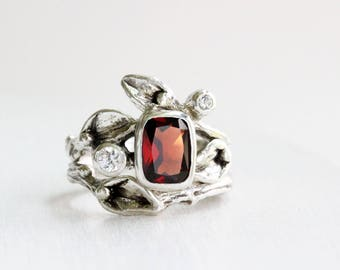 Garnet, White Sapphire Engagement Rings, Leaf Ring, Silver Twig Rings
