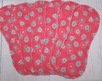 7 .5 inch panty liners without wings. wingless panty liner flannel and fleece Set of 6