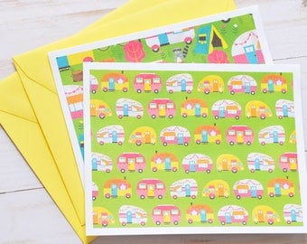 Colorful Camper Note Cards // Set of 4 // Vintage Trailer // Retro // Thank You Cards // Thinking of You // Birthday Cards // Blank Cards