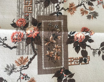 "Vintage Mid Century Modern Asian Floral Print Fabric Sample 22"" x 28"""