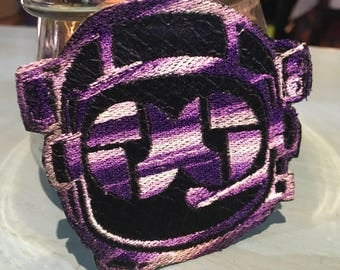 Disco Biscuit Astronaut Iron on Patch ~ Black and purple Bisconaut ~ READY TO SHIP
