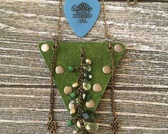 Guitar Pick Holder Necklace Rockn'roll jewelry-Suede Case-Lime Green-Guitar Accessories-Leather Jewelry for Him or Her