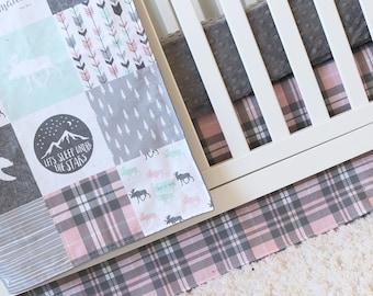Girl Woodlands Crib Bedding, Pink Plaid Crib Skirt, Grey Minky Fitted Sheet, Mint Trees, Bear, Arrows, Mountains, Moose, Nursery Bedding Set