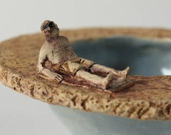 Small Ceramic Bowl Man Sunbathing