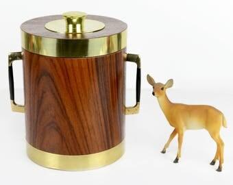 ice bucket, vintage bar ware, wood veneer, mid century modern, brass accent, barware, retro, mod
