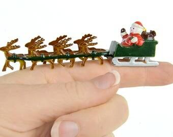 santa, Christmas, minature, Santa, sled , Reindeer, santa figurine, metal, vintage Christmas, doll house size