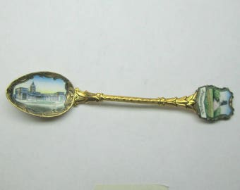 Enamel spoon , gold tone , I assume from Greece , no marks , maybe on brass or gold plated