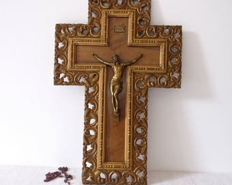 vintage French Holly Water Font Crucifix, Wood, LOURDES - Notre Dame Cathedral Souvenir - Mid Century Crucifix