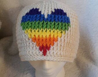 Rainbow Heart Beanie