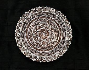Big circle mandala pottery stamp/hand carved Indian block printing stamp/tjap/ wooden block for printing/ paper and fabric printing stamp