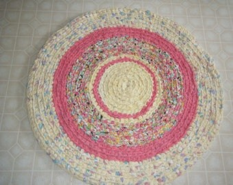Yellow and Berry Handmade Rag Rug - for Etsy