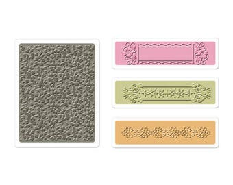 Sizzix Textured Impressions Embossing Folders 2PK - RASPBERRY FRAME Set
