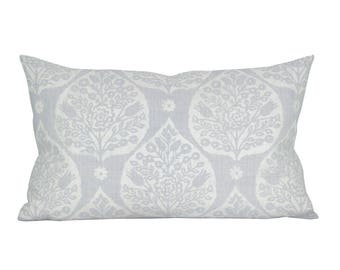 Little Lotus lumbar pillow cover in Light Vapor on White Linen