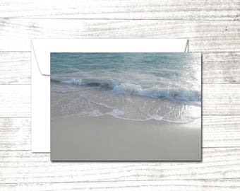 Caribbean Seascape Note Card | Fine Art Photography Greeting Card | Beach theme card | Seafoam on sand