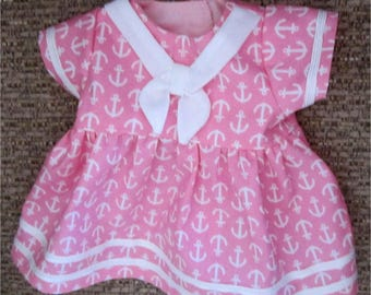 "Cute Pink & White Anchor Print Nautical Sailor Dress Fits  Bitty Baby/ Bitty Twin  or Similar 15"" Baby Doll"