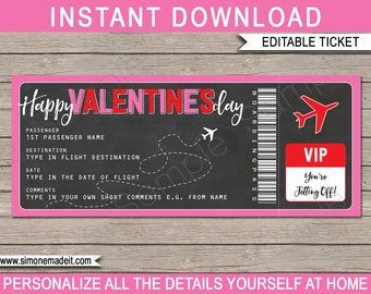 Valentines Day Gift Plane Ticket - Printable Boarding Pass - Surprise Trip, Getaway, Holiday - INSTANT DOWNLOAD - EDITABLE text - you edit