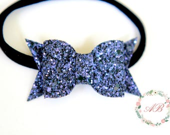 Halloween Bow Headband - Baby Bow Headband - Halloween Glitter Bow Headband - Baby Halloween Headband - Purple Glitter Bow