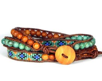 Leather Wrap Bracelet Green Blue Triple Wrap Stone Delica Wood Bracelet Bohemian Bracelet Boho Jewelry