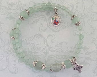 Rosary Bracelet, St Anthony, Green Aventurine, Five Decade, Stainless Steel, Memory Wire, Gemstone,Green Rosary, Handcrafted, Wrapped Rosary