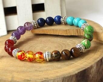 Semi Precious Stone Bracelet,Chakra Crystal Healing,Balancing Reiki,Yoga Jewelry