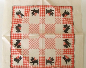 SALE Scottie Dog Paper Tablecloths 1950s Disposable Party Supplies Red White Gingham Bridge Table Cloth
