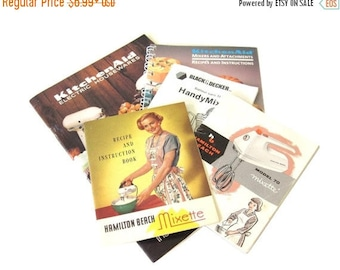SALE Electric Mixer Instruction Manual Recipe Books KitchenAid Stand Mixer Hamilton Beach Mixette Black Decker