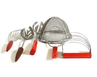 SALE Androck Pastry Blender Batter Beater, Strainer, Slotted Spoon Red Bakelite Handle Brown Bullet Handle Kitchen Utensil Corona Stainless
