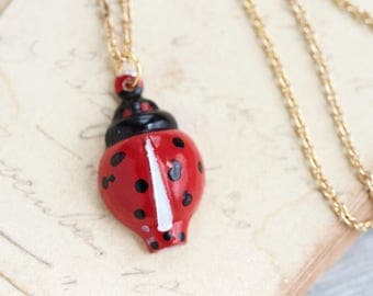 Ladybug Whistle Necklace - Ladybird Red Insect Pendant on Golden Chain