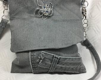 Gray Denim Bag with Starburburst Flap