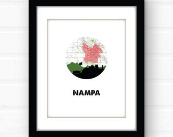 Nampa, Idaho sign | Idaho map art print | Idaho art print | Nampa, Idaho wall art | city skyline art print | western decor | city art