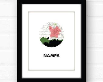 Nampa, Idaho sign | Idaho map art print | Idaho art print | Nampa, Idaho wall art | city skyline art print | western decor | city art