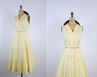 80s Light Yellow Summer Dress / 1980s Full Skirt Dress / Spring dress / 50s Dress / Sleevesless Dress / Size M/L