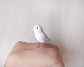 Cute white parrot ring