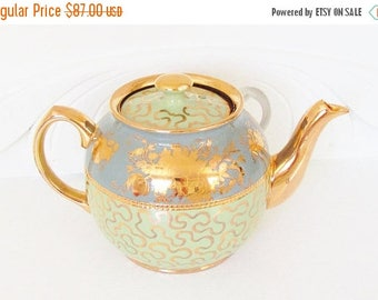 ON SALE Fancy Sadler Blue Green Gilded Teapot full size 6 cup 1950s 1960s