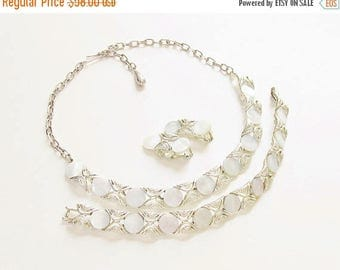ON SALE White Thermoset Necklace Bracelet Earrings signed Coro 1960s Demi Parure